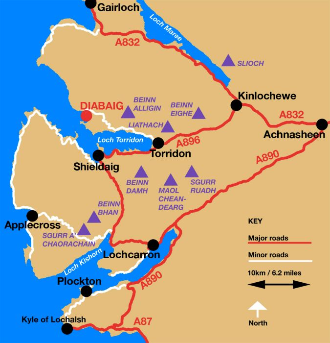 A map of the Munros in the vicinity of Lochcarron, Glen Carron, Applecross and Torridon.