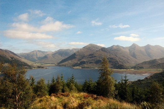 The superb view of the Five Sisters of Kintail as seen from one of the viewpoints on the road over Mam Ratagan.